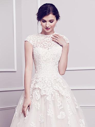 Krajkové svatební šaty PL1578 se zahaleným dekoltem dc9c479406