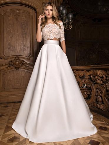 12ddeecaf5a Dvojdílné svatební šaty s dlouhým rukávem