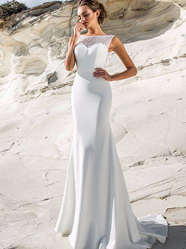 Jednoduché úzké saténové svatební šaty 102e8280332