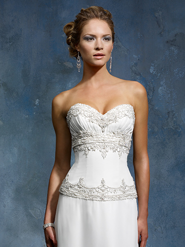 ... svatební šaty šifonové svatební šaty bez ramínek se srdcovým